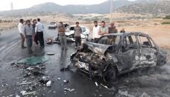 ۶ نفر کشته و زخمی در تصادف و آتش سوزس  پژو ۲۰۶ با پراید در کمربندی چنارستان
